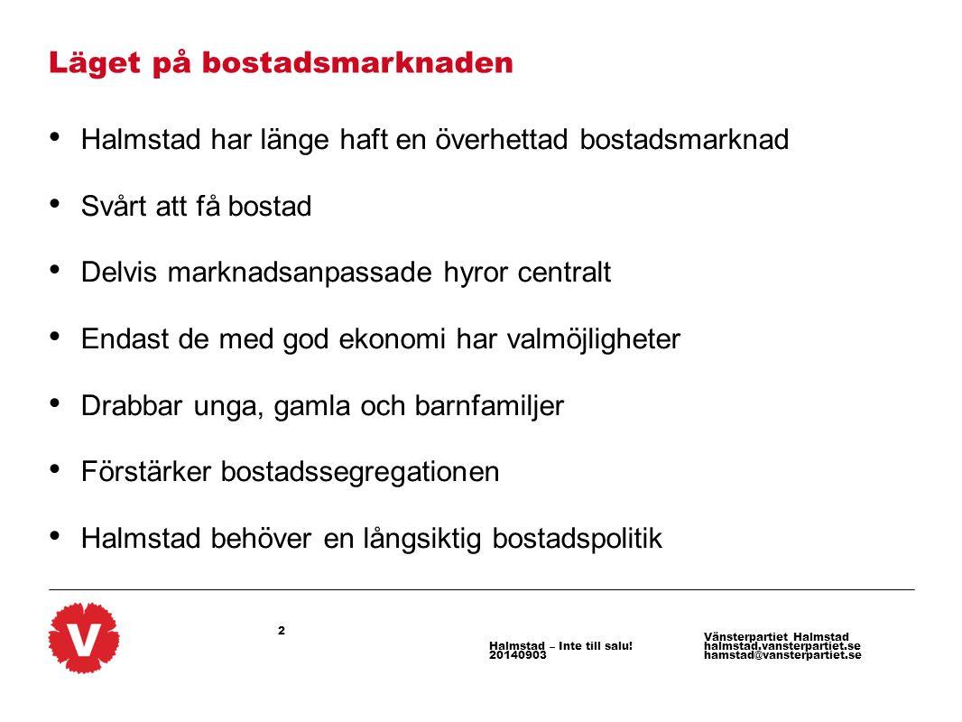 2 Vänsterpartiet Halmstad halmstad.vansterpartiet.se hamstad@vansterpartiet.se Halmstad – Inte till salu! 20140903 Läget på bostadsmarknaden Halmstad