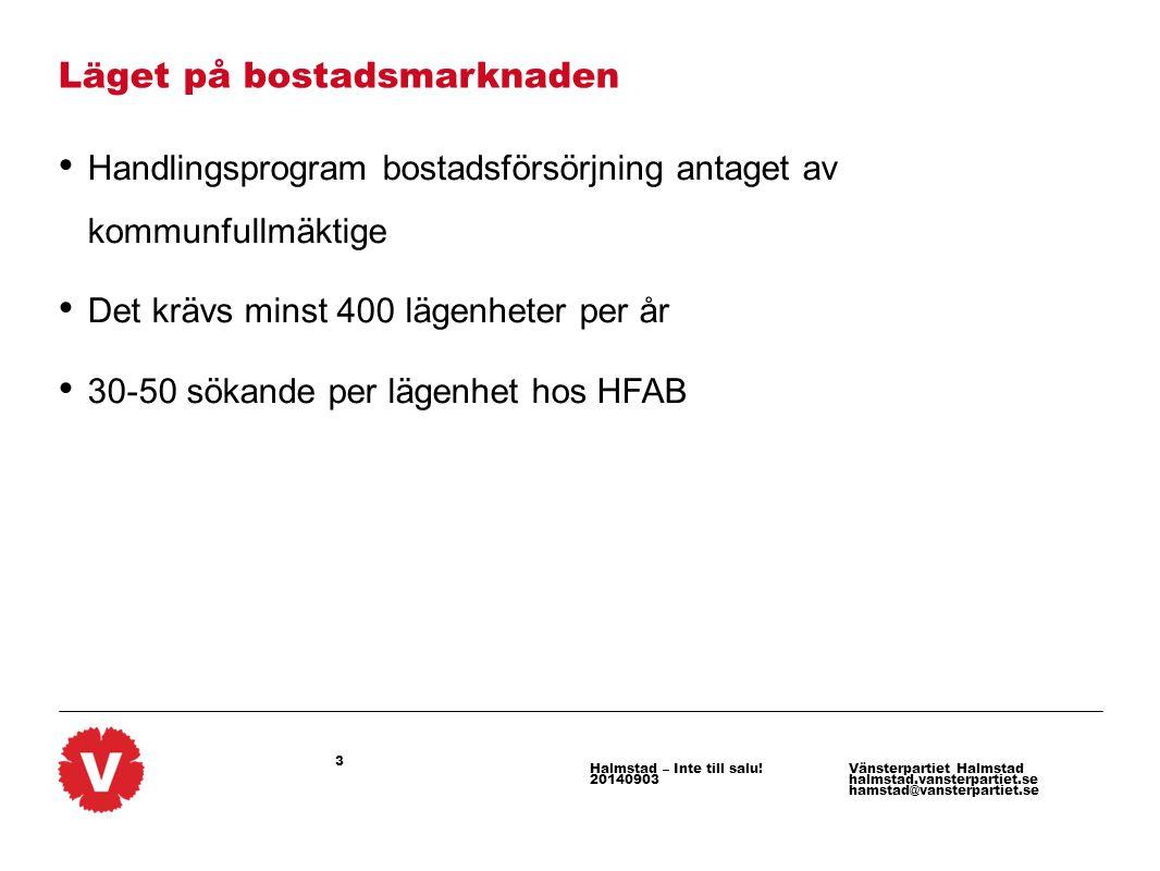 3 Vänsterpartiet Halmstad halmstad.vansterpartiet.se hamstad@vansterpartiet.se Halmstad – Inte till salu! 20140903 Läget på bostadsmarknaden Handlings