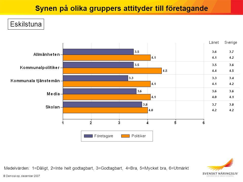 © Demoskop, december 2007 Synen på olika gruppers attityder till företagande Medelvärden: 1=Dåligt, 2=Inte helt godtagbart, 3=Godtagbart, 4=Bra, 5=Mycket bra, 6=Utmärkt Eskilstuna