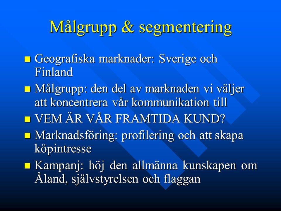 Målgrupp & segmentering Geografiska marknader: Sverige och Finland Geografiska marknader: Sverige och Finland Målgrupp: den del av marknaden vi väljer