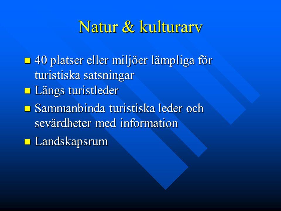 Natur & kulturarv 40 platser eller miljöer lämpliga för turistiska satsningar 40 platser eller miljöer lämpliga för turistiska satsningar Längs turist