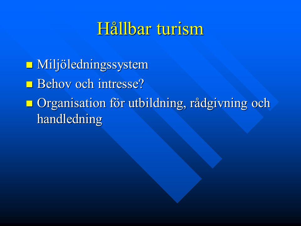 Hållbar turism Miljöledningssystem Miljöledningssystem Behov och intresse? Behov och intresse? Organisation för utbildning, rådgivning och handledning
