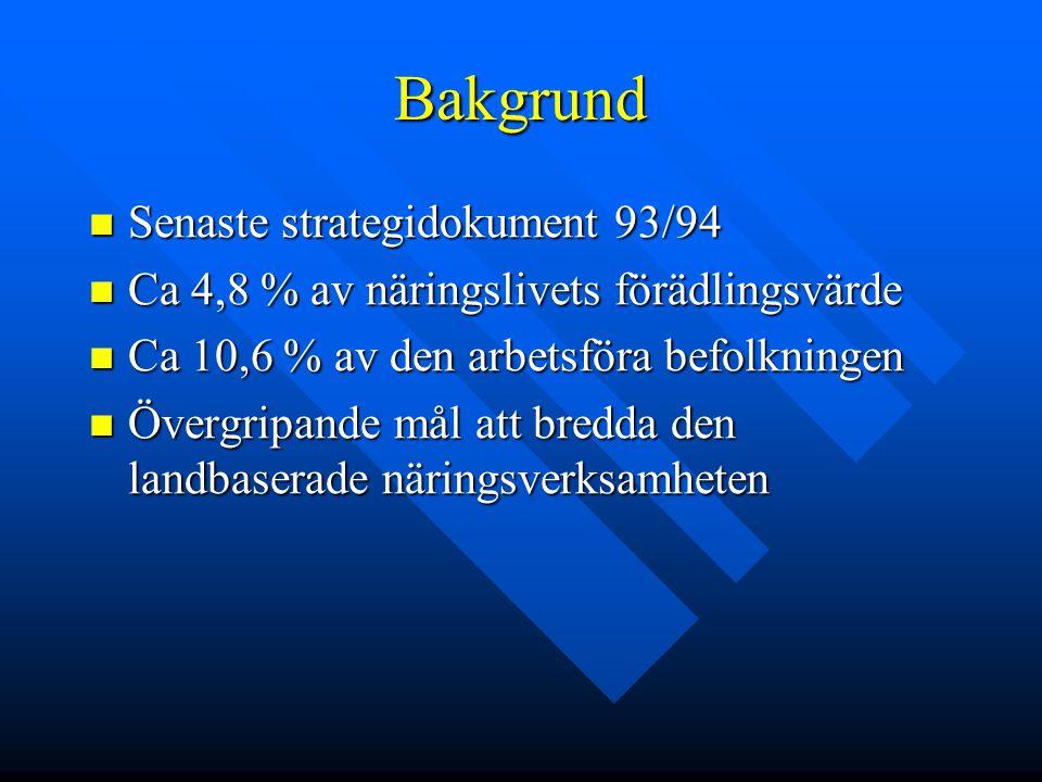 Bakgrund Senaste strategidokument 93/94 Senaste strategidokument 93/94 Ca 4,8 % av näringslivets förädlingsvärde Ca 4,8 % av näringslivets förädlingsv
