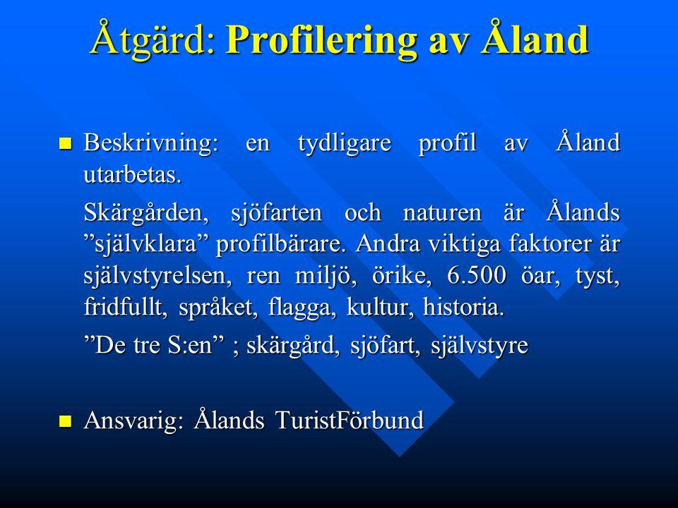 Åtgärd:Profilering av Åland Beskrivning: en tydligare profil av Åland utarbetas. Beskrivning: en tydligare profil av Åland utarbetas. Skärgården, sjöf