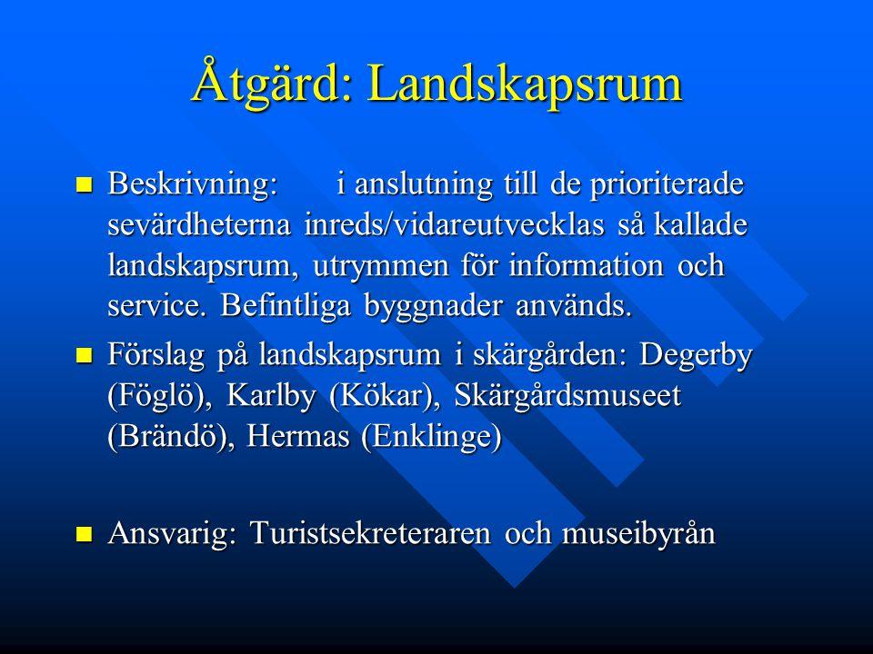 Åtgärd: Landskapsrum Beskrivning:i anslutning till de prioriterade sevärdheterna inreds/vidareutvecklas så kallade landskapsrum, utrymmen för informat
