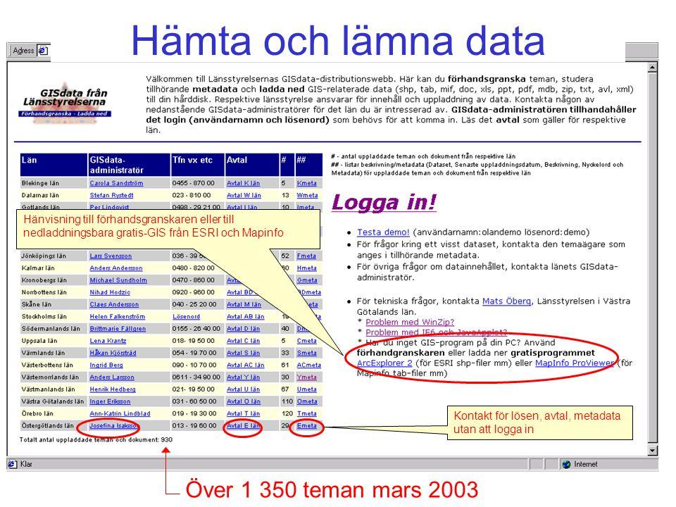 Över 1 350 teman mars 2003 Hänvisning till förhandsgranskaren eller till nedladdningsbara gratis-GIS från ESRI och Mapinfo Kontakt för lösen, avtal, metadata utan att logga in Hämta och lämna data