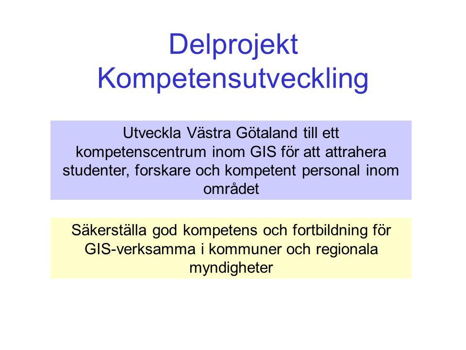Delprojekt Kompetensutveckling Utveckla Västra Götaland till ett kompetenscentrum inom GIS för att attrahera studenter, forskare och kompetent personal inom området Säkerställa god kompetens och fortbildning för GIS-verksamma i kommuner och regionala myndigheter