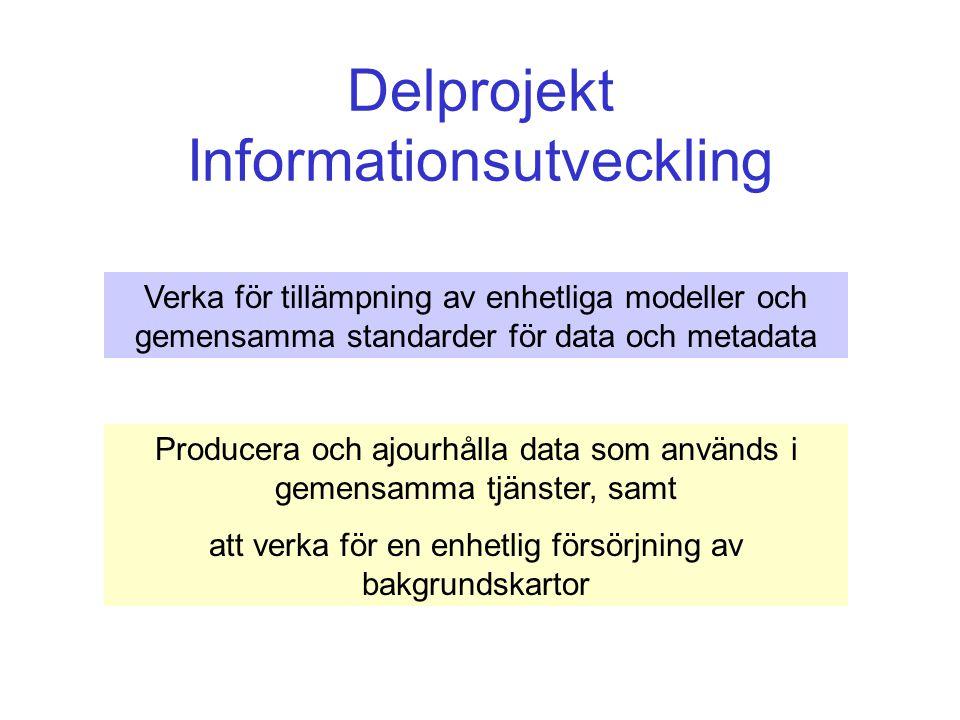Delprojekt Informationsutveckling Verka för tillämpning av enhetliga modeller och gemensamma standarder för data och metadata Producera och ajourhålla data som används i gemensamma tjänster, samt att verka för en enhetlig försörjning av bakgrundskartor