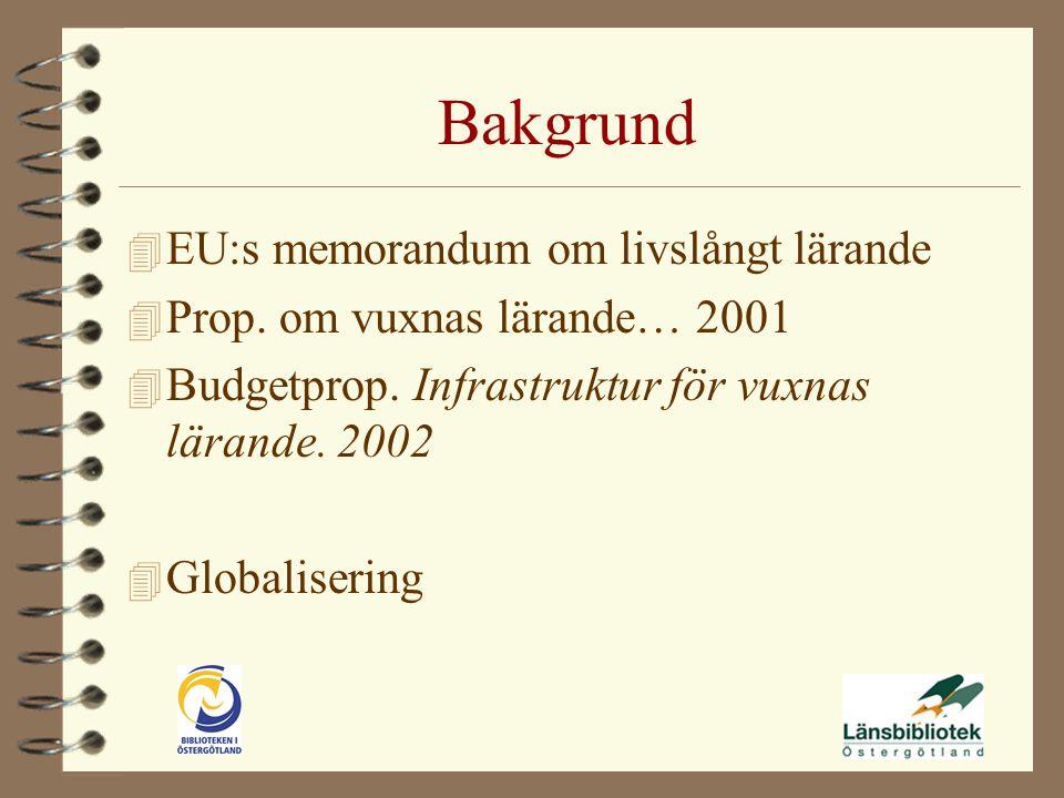 Bakgrund 4 EU:s memorandum om livslångt lärande 4 Prop.