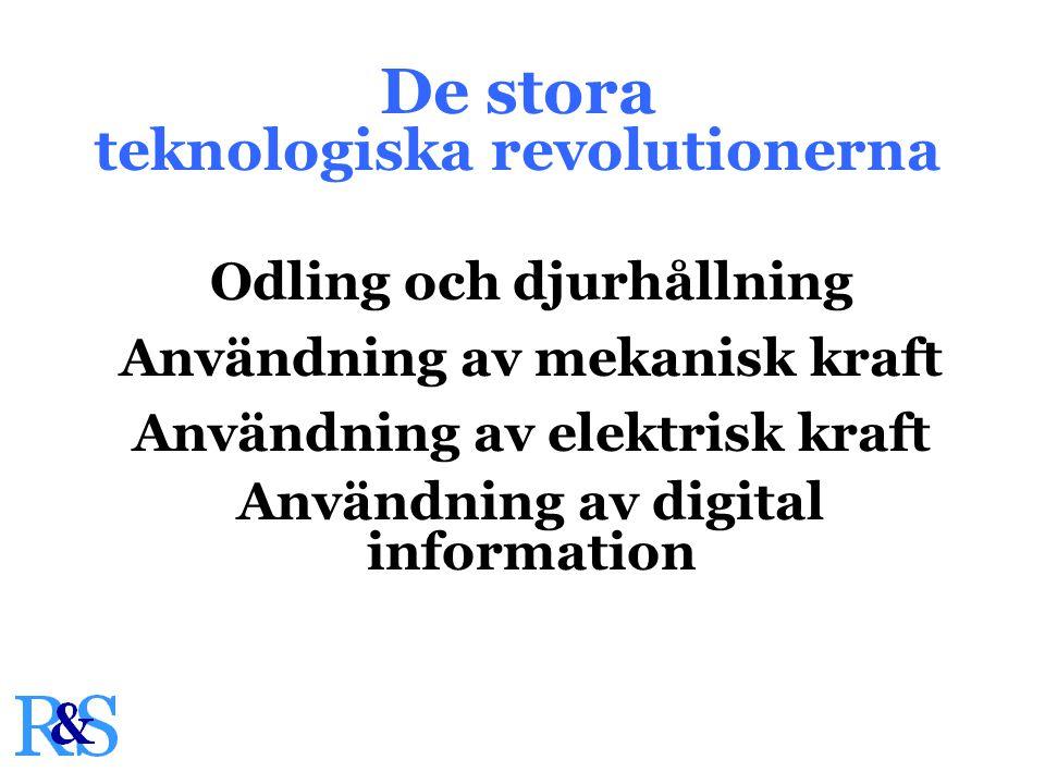 De stora teknologiska revolutionerna Odling och djurhållning Användning av mekanisk kraft Användning av elektrisk kraft Användning av digital information