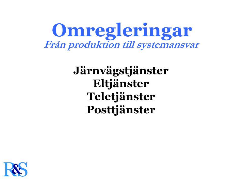 Omregleringar Järnvägstjänster Eltjänster Teletjänster Posttjänster Från produktion till systemansvar