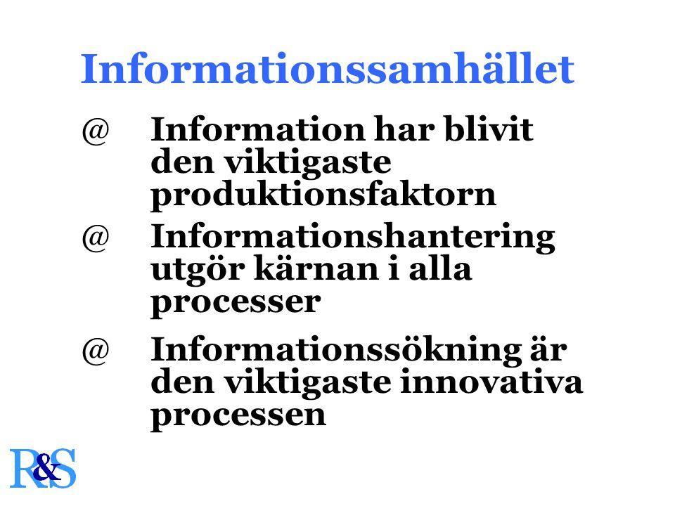 @Information har blivit den viktigaste produktionsfaktorn Informationssamhället @Informationshantering utgör kärnan i alla processer @Informationssökning är den viktigaste innovativa processen