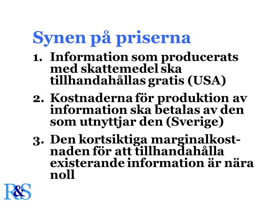 1.Information som producerats med skattemedel ska tillhandahållas gratis (USA) 2.Kostnaderna för produktion av information ska betalas av den som utnyttjar den (Sverige) 3.Den kortsiktiga marginalkost- naden för att tillhandahålla existerande information är nära noll Synen på priserna