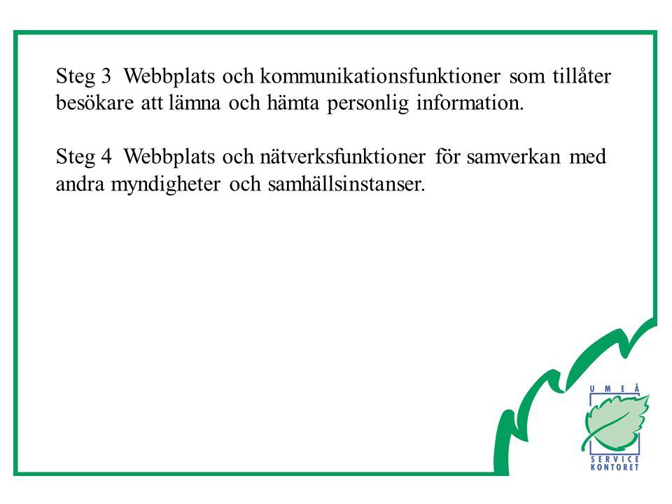 Steg 3Webbplats och kommunikationsfunktioner som tillåter besökare att lämna och hämta personlig information.
