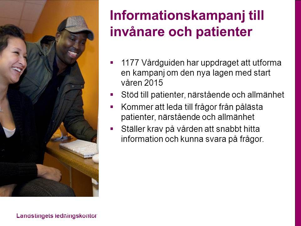 Landstingets ledningskontor Informationsplikten, patientlagen, 2014-11-13 Informationskampanj till invånare och patienter  1177 Vårdguiden har uppdra