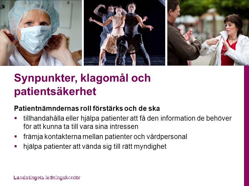 Landstingets ledningskontor Synpunkter, klagomål och patientsäkerhet Patientnämndernas roll förstärks och de ska  tillhandahålla eller hjälpa patient