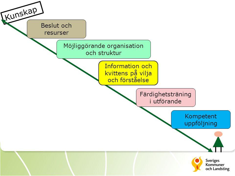 Kunskap Beslut och resurser Information och kvittens på vilja och förståelse Färdighetsträning i utförande Möjliggörande organisation och struktur Kompetent uppföljning