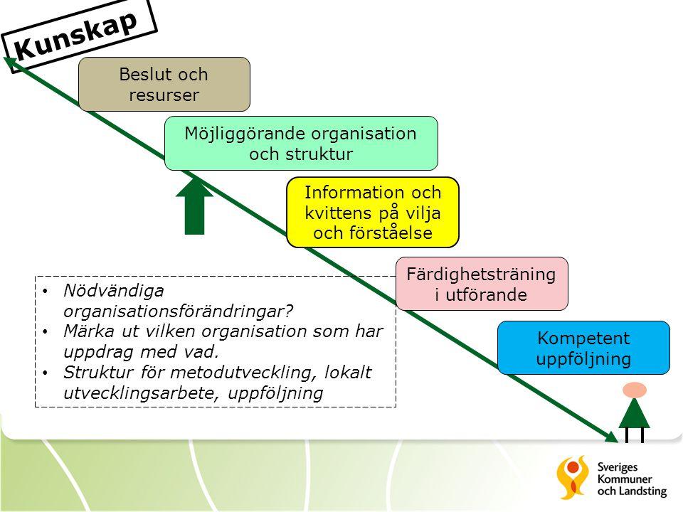 Kunskap Beslut och resurser Information och kvittens på vilja och förståelse Färdighetsträning i utförande Möjliggörande organisation och struktur Kompetent uppföljning Nödvändiga organisationsförändringar.