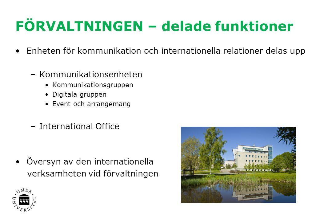 FÖRVALTNINGEN – delade funktioner Enheten för kommunikation och internationella relationer delas upp –Kommunikationsenheten Kommunikationsgruppen Digi