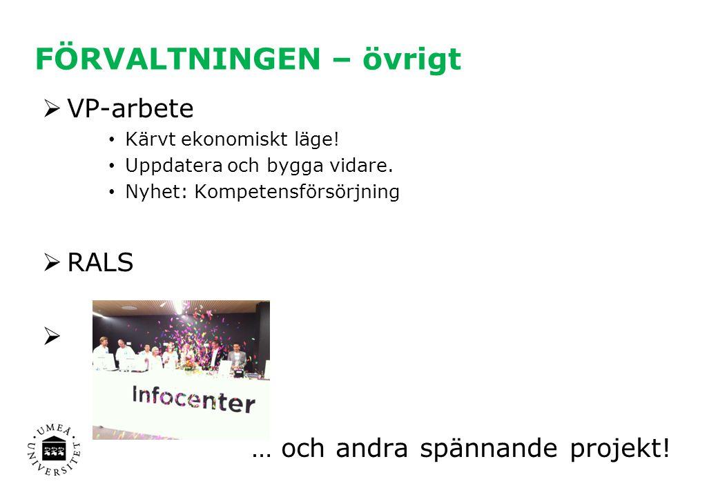 FÖRVALTNINGEN – övrigt  VP-arbete Kärvt ekonomiskt läge! Uppdatera och bygga vidare. Nyhet: Kompetensförsörjning  RALS  … och andra spännande proje