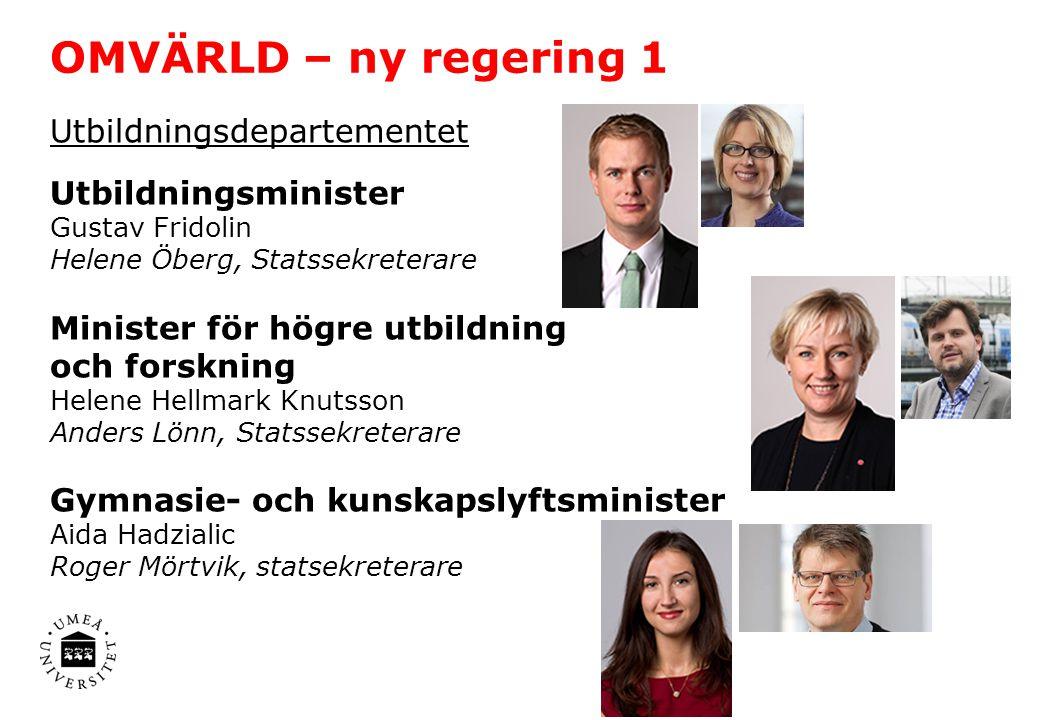 OMVÄRLD – ny regering 1 Utbildningsdepartementet Utbildningsminister Gustav Fridolin Helene Öberg, Statssekreterare Minister för högre utbildning och