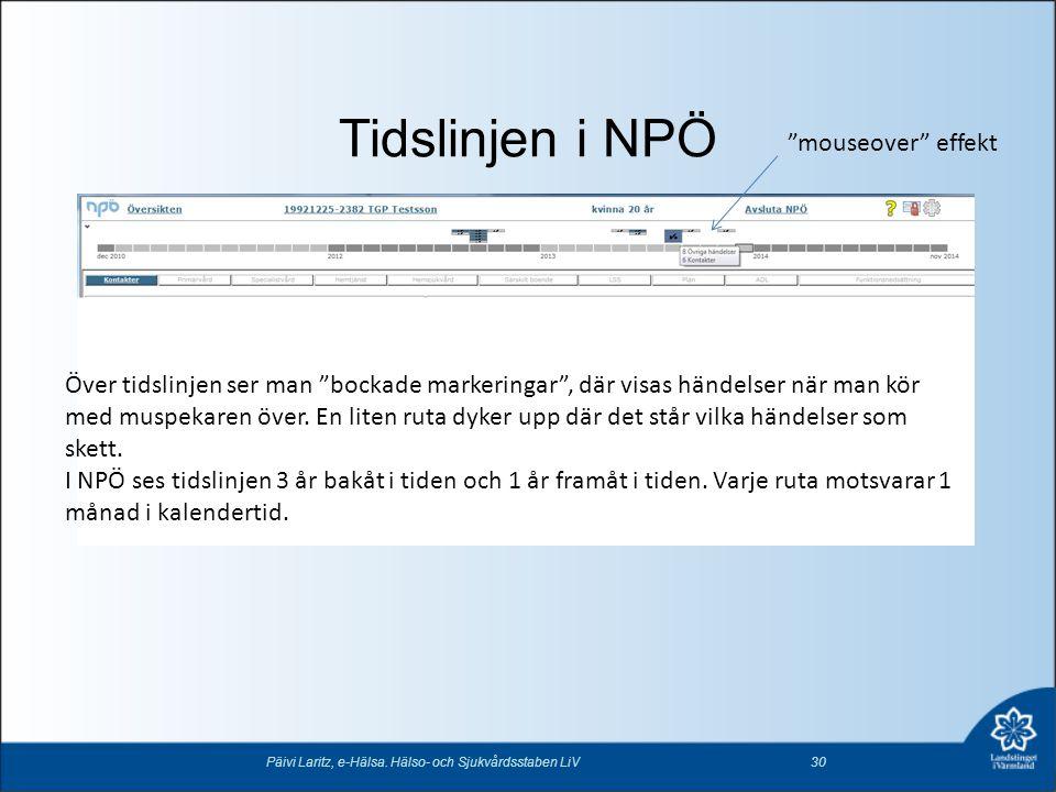 """Tidslinjen i NPÖ Päivi Laritz, e-Hälsa. Hälso- och Sjukvårdsstaben LiV30 """"mouseover"""" effekt Över tidslinjen ser man """"bockade markeringar"""", där visas h"""