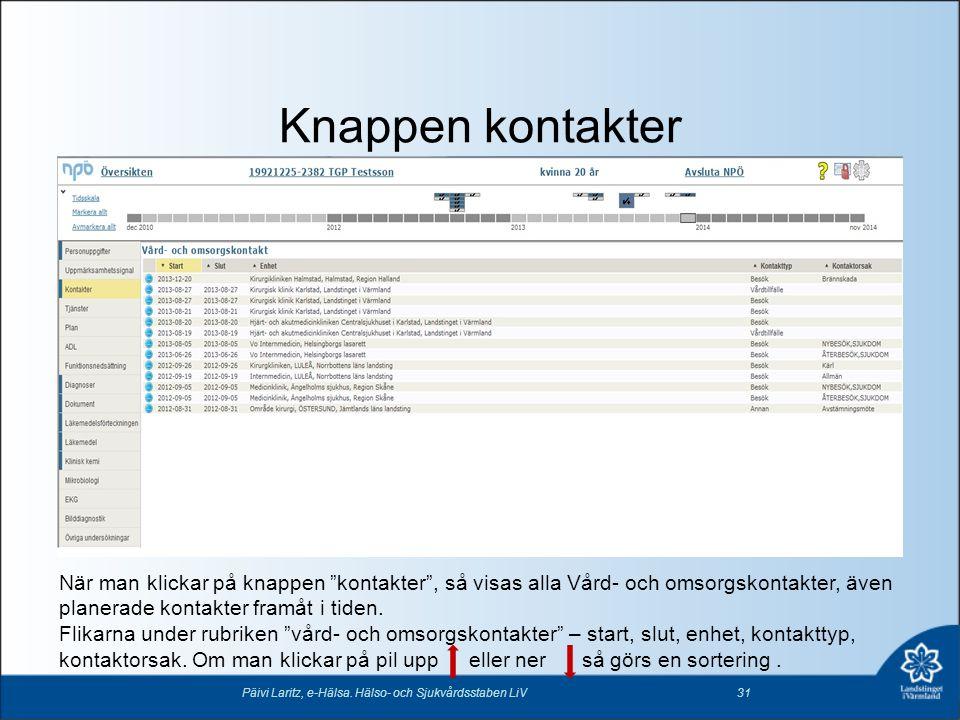 """Knappen kontakter Päivi Laritz, e-Hälsa. Hälso- och Sjukvårdsstaben LiV31 När man klickar på knappen """"kontakter"""", så visas alla Vård- och omsorgskonta"""