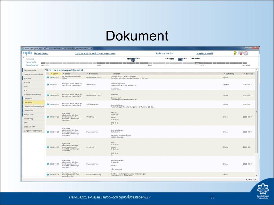 Dokument Päivi Laritz, e-Hälsa. Hälso- och Sjukvårdsstaben LiV33