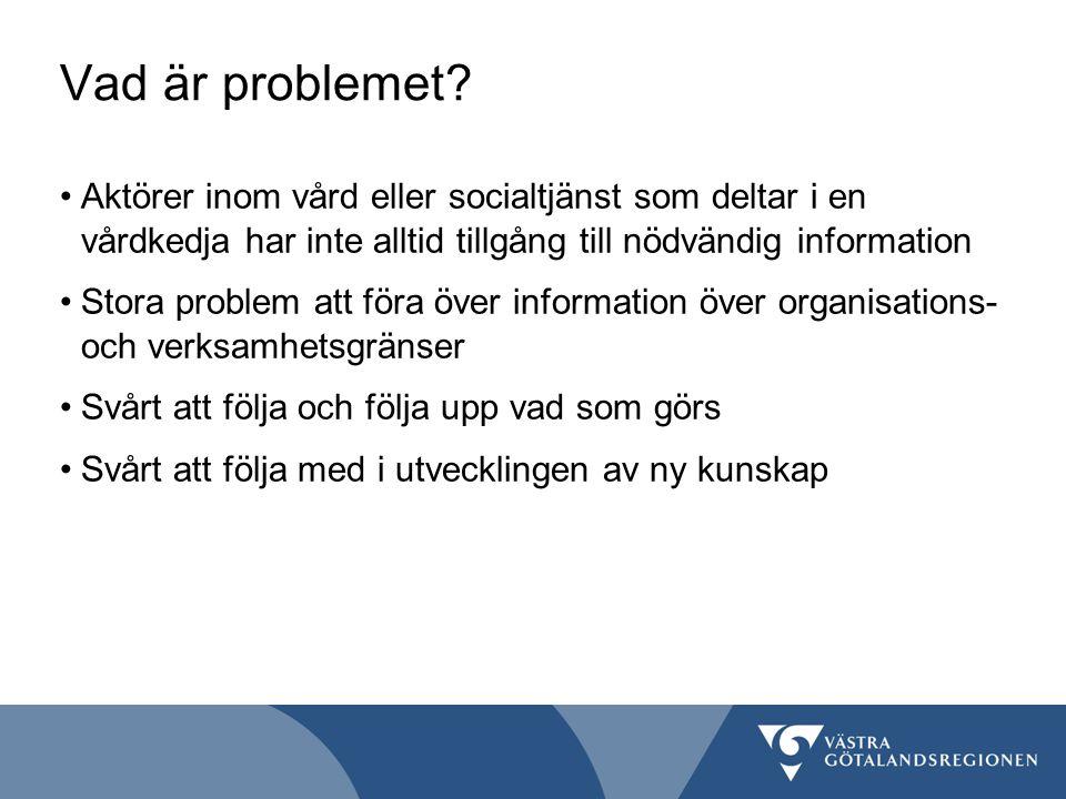 Vad är problemet? Aktörer inom vård eller socialtjänst som deltar i en vårdkedja har inte alltid tillgång till nödvändig information Stora problem att