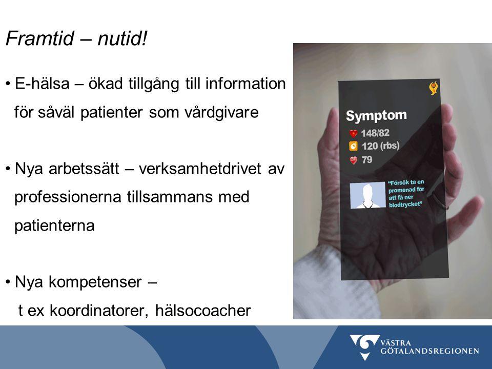 Framtid – nutid! E-hälsa – ökad tillgång till information för såväl patienter som vårdgivare Nya arbetssätt – verksamhetdrivet av professionerna tills