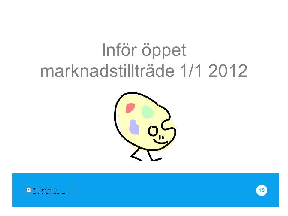 Inför öppet marknadstillträde 1/1 2012 15