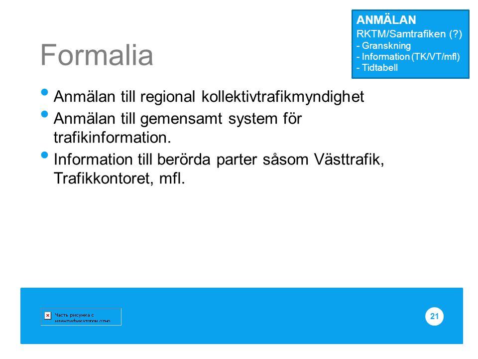 Formalia Anmälan till regional kollektivtrafikmyndighet Anmälan till gemensamt system för trafikinformation. Information till berörda parter såsom Väs