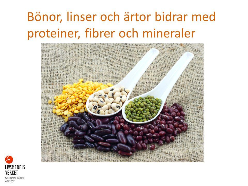 Bönor, linser och ärtor bidrar med proteiner, fibrer och mineraler