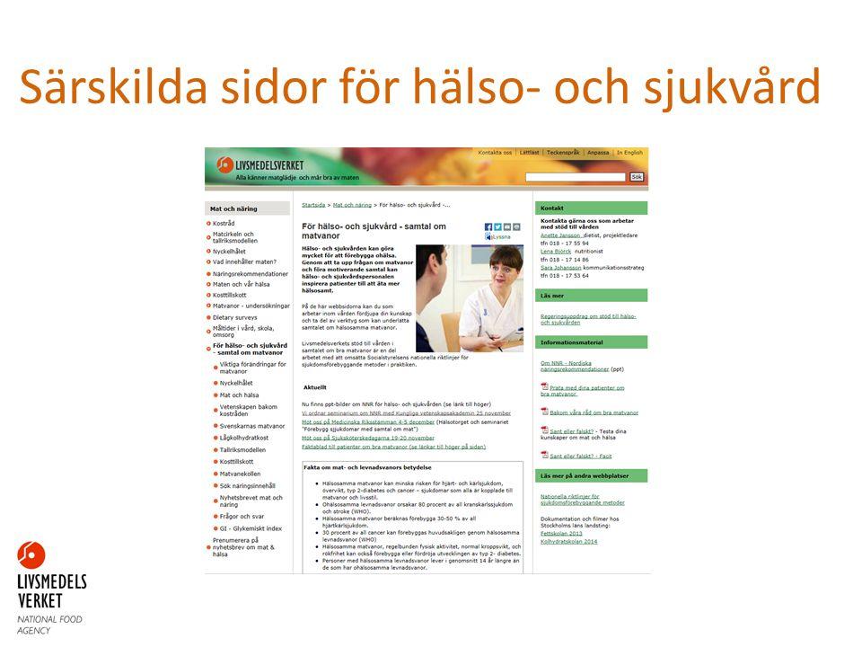 Särskilda sidor för hälso- och sjukvård