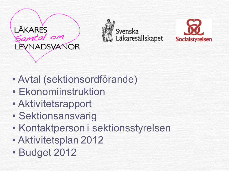 Avtal (sektionsordförande) Ekonomiinstruktion Aktivitetsrapport Sektionsansvarig Kontaktperson i sektionsstyrelsen Aktivitetsplan 2012 Budget 2012