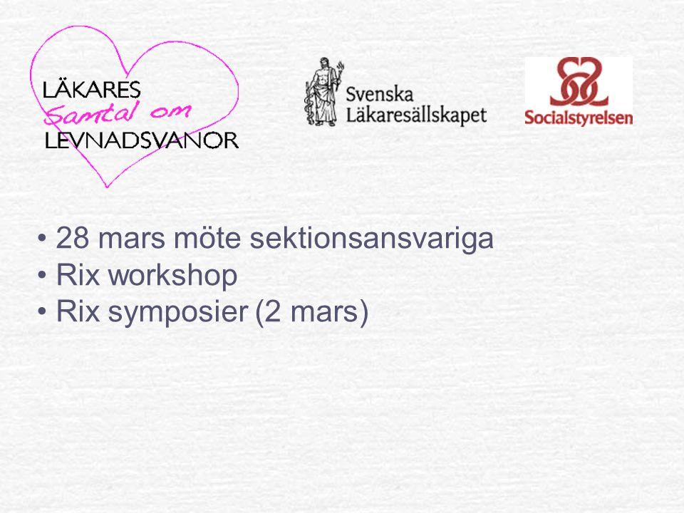 28 mars möte sektionsansvariga Rix workshop Rix symposier (2 mars)
