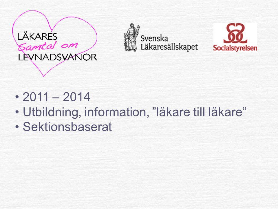 2011 – 2014 Utbildning, information, läkare till läkare Sektionsbaserat