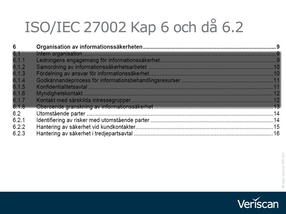All rights reserved 1999-2012 12 ISO/IEC 27002 Kap 6 och då 6.2