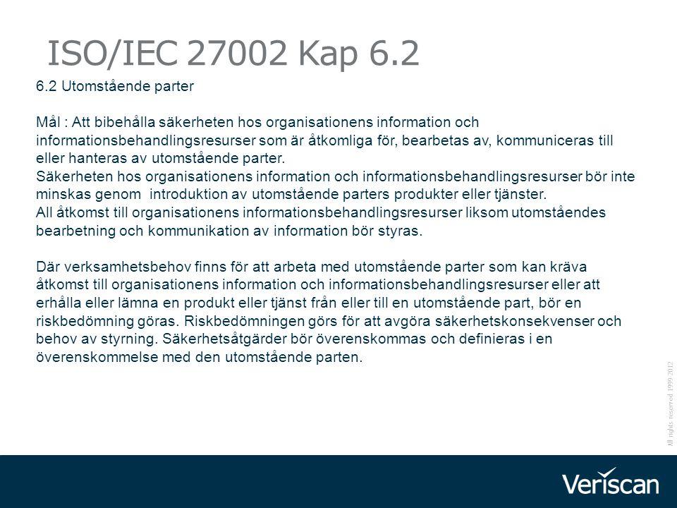 All rights reserved 1999-2012 ISO/IEC 27002 Kap 6.2 6.2 Utomstående parter Mål : Att bibehålla säkerheten hos organisationens information och informat