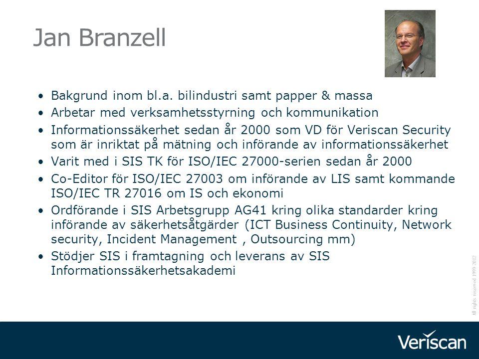 All rights reserved 1999-2012 Jan Branzell Bakgrund inom bl.a. bilindustri samt papper & massa Arbetar med verksamhetsstyrning och kommunikation Infor