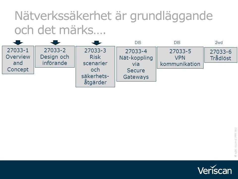 All rights reserved 1999-2012 Nätverkssäkerhet är grundläggande och det märks…. 27033-1 Overview and Concept 27033-2 Design och införande 27033-4 Nät-