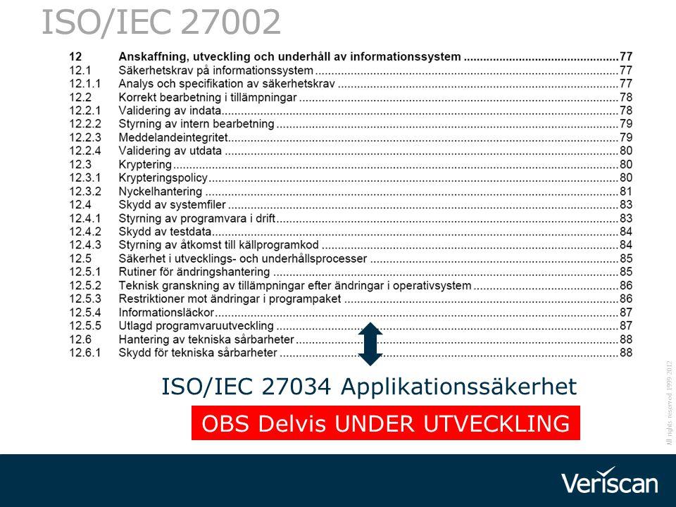 All rights reserved 1999-2012 32 ISO/IEC 27002 ISO/IEC 27034 Applikationssäkerhet OBS Delvis UNDER UTVECKLING