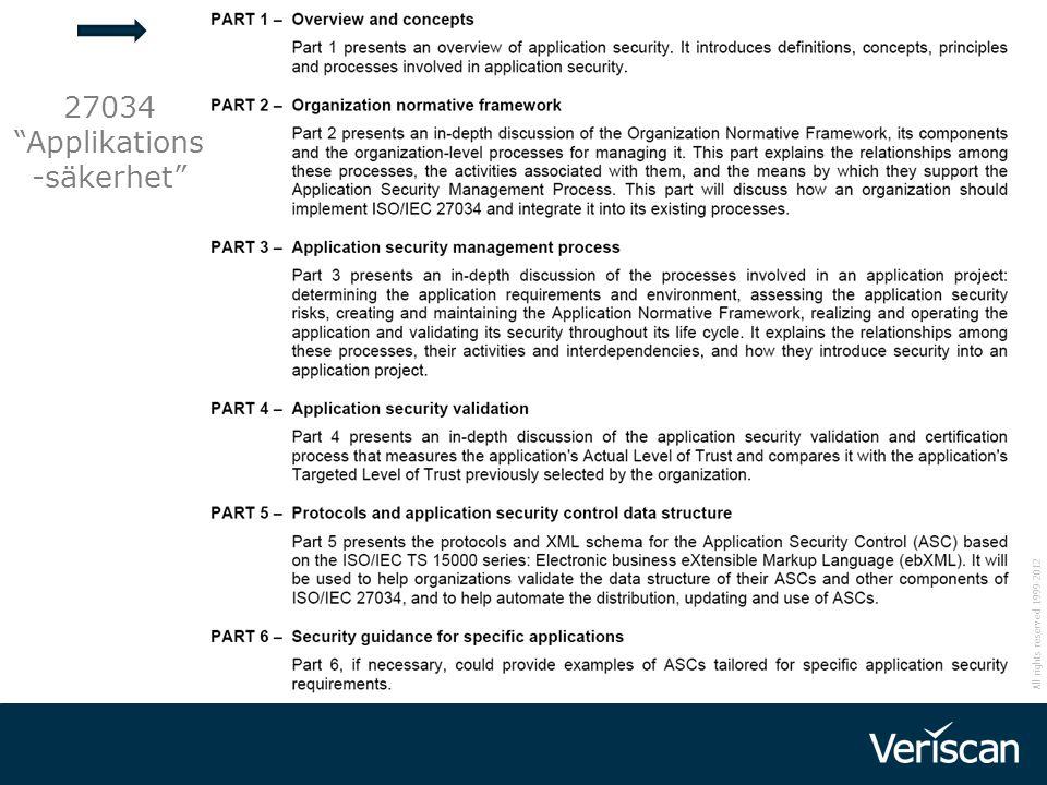 """All rights reserved 1999-2012 27034 """"Applikations -säkerhet"""""""