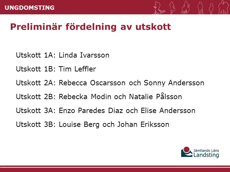 UNGDOMSTING Preliminär fördelning av utskott Utskott 1A: Linda Ivarsson Utskott 1B: Tim Leffler Utskott 2A: Rebecca Oscarsson och Sonny Andersson Utsk