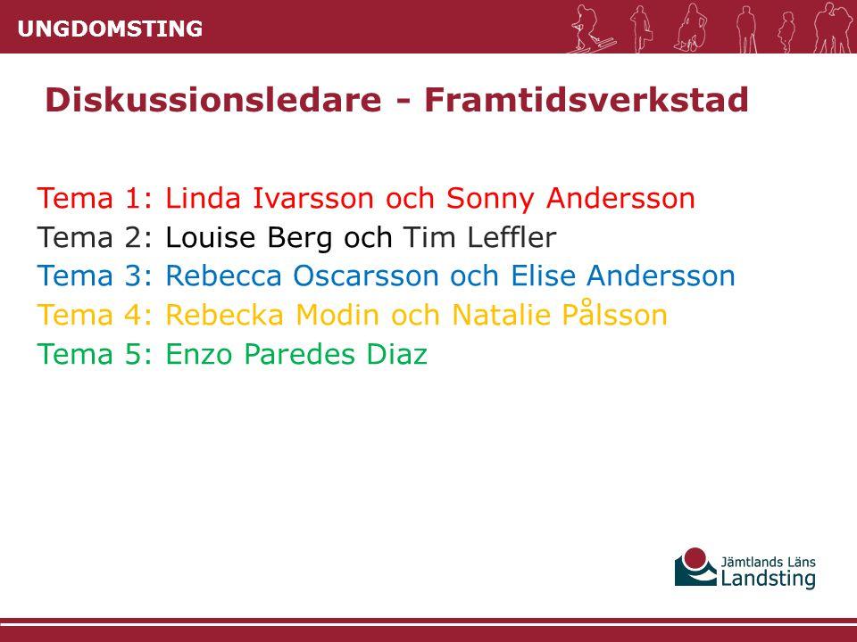 UNGDOMSTING Tema 1: Linda Ivarsson och Sonny Andersson Tema 2: Louise Berg och Tim Leffler Tema 3: Rebecca Oscarsson och Elise Andersson Tema 4: Rebec