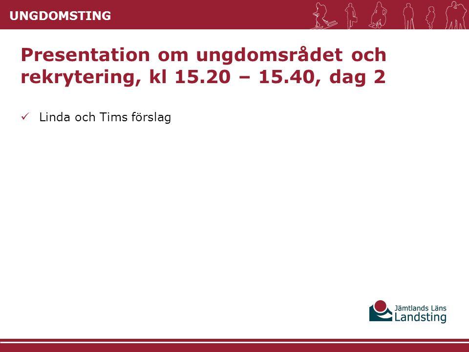 UNGDOMSTING Linda och Tims förslag Presentation om ungdomsrådet och rekrytering, kl 15.20 – 15.40, dag 2