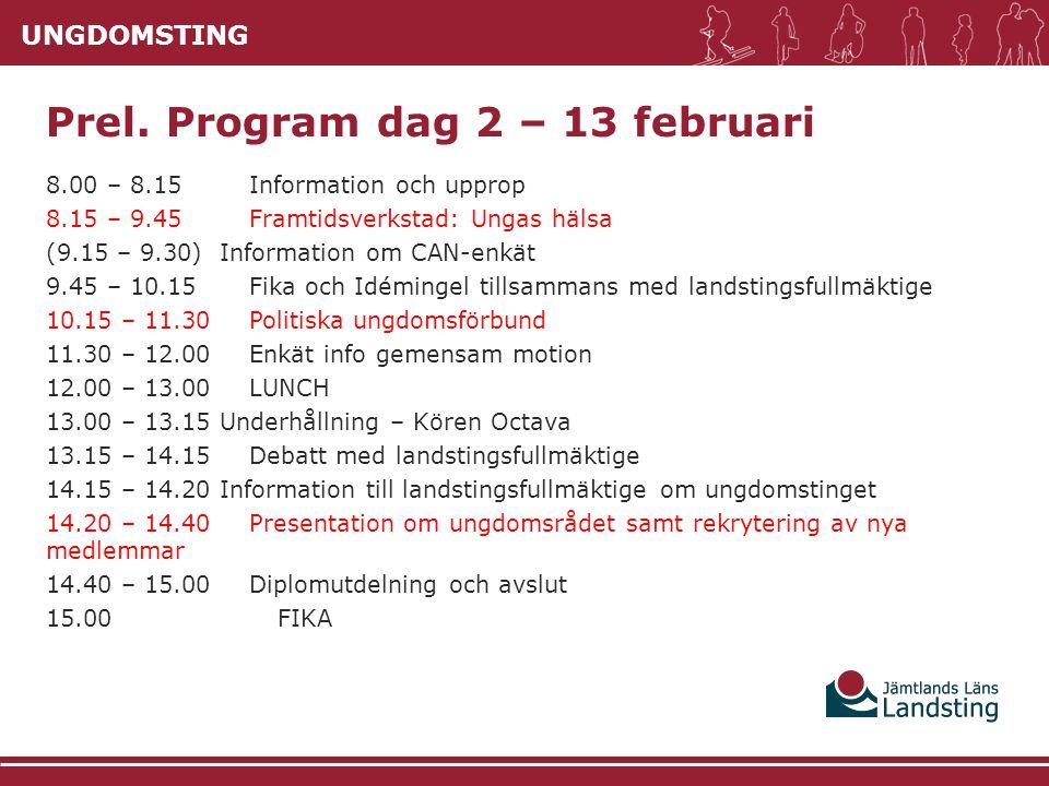 UNGDOMSTING 8.00 – 8.15 Information och upprop 8.15 – 9.45 Framtidsverkstad: Ungas hälsa (9.15 – 9.30) Information om CAN-enkät 9.45 – 10.15Fika och I