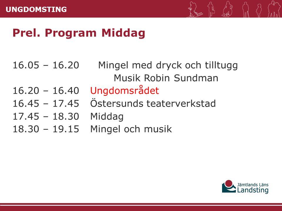 UNGDOMSTING 16.05 – 16.20 Mingel med dryck och tilltugg Musik Robin Sundman 16.20 – 16.40Ungdomsrådet 16.45 – 17.45Östersunds teaterverkstad 17.45 – 1
