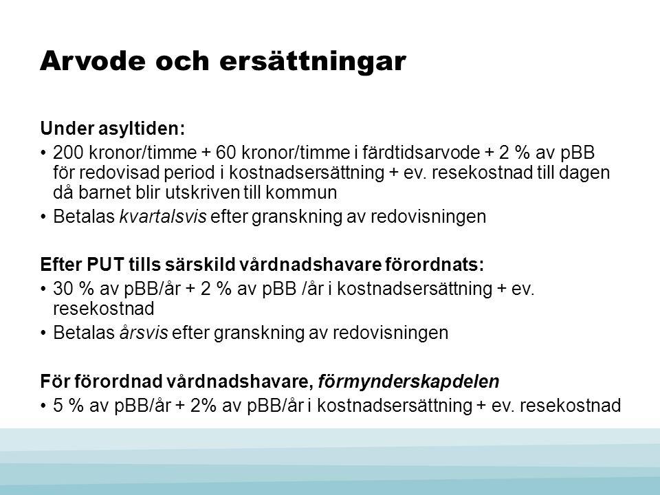 Arvode och ersättningar Under asyltiden: 200 kronor/timme + 60 kronor/timme i färdtidsarvode + 2 % av pBB för redovisad period i kostnadsersättning + ev.