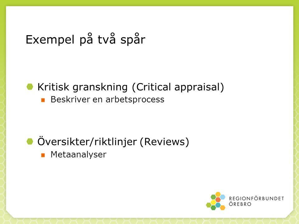 Kritisk granskning (Critical appraisal) Beskriver en arbetsprocess Översikter/riktlinjer (Reviews) Metaanalyser Exempel på två spår